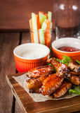 Hot chicken wings cooked with honey and soy Royalty Free Stock Image
