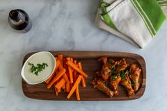 Hot Chicken Wings Flat lay stock photo