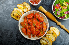 Hot chicken wings, habanero souce, salad Royalty Free Stock Photos