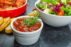 Hot chicken wings, habanero souce, salad Royalty Free Stock Photography