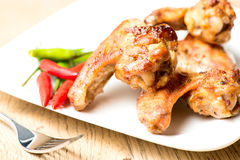 Hot chicken wings on plate Royalty Free Stock Photos