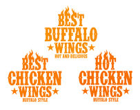 Hot chicken wings signs. Royalty Free Stock Photo