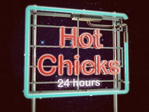 Hot chicks neon sign Royalty Free Stock Photo