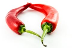 Hot chili  heart Stock Image