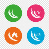 Hot chili pepper icons. Spicy food symbols. Royalty Free Stock Image