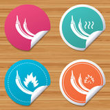 Hot chili pepper icons. Spicy food symbols. Round stickers or website banners. Hot chili pepper icons. Spicy food fire sign symbols. Circle badges with bended Royalty Free Stock Photos
