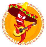 Hot chili pepper incendiary plays guitar Royalty Free Stock Image