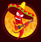 Hot chili pepper incendiary plays guitar royalty free illustration