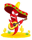 Hot chili pepper incendiary plays guitar vector illustration