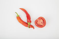 Hot chili pepper. Red color in the pan Stock Image