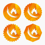 Hot chili pepper sign icon. Spicy food symbol. Stock Images