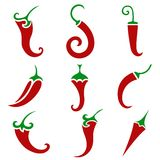 Hot chili pepper vector set isolated Stock Images