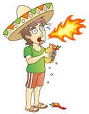 Hot Chili Peppers. Hot Burrito; young man; food test; vector illustration Royalty Free Stock Image