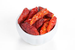 Hot chili peppers in a bowl on white background Stock Photos