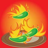 Hot chili peppers burning on a plate Royalty Free Stock Photos