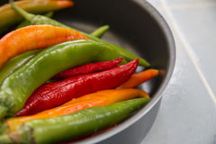 Hot chili peppers of different colors. A lot of hot chili peppers of different colors in the pan Stock Images