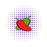 Hot chili peppers icon, comics style Royalty Free Stock Image