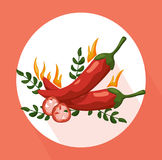Hot Chili peppers icon detailed vector illustration template Royalty Free Stock Photo