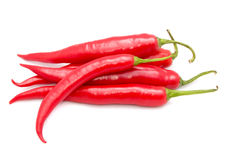 Hot Chili Peppers Isolated on White Stock Photo