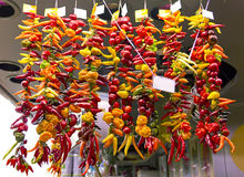 Hot chili peppers at the market Stock Photography
