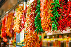 Hot chili peppers at the market Stock Image