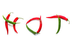 Hot chili peppers over white Royalty Free Stock Image