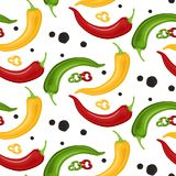 Hot Chili peppers pattern detailed colorful illustration template background stock illustration