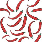 Hot chili peppers pattern. Vector hot chili peppers seamless pattern. Vintage engraving hand drawn illustration. Hot spicy mexican food Stock Photos