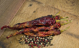 Hot Chili Peppers with Pepper Corns Stock Images