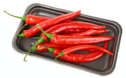 Hot chili peppers in retail pack Royalty Free Stock Images