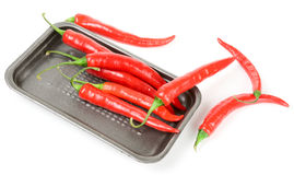 Hot chili peppers in retail pack. Isolated on white stock image