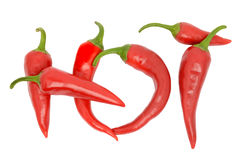 Hot chili peppers. On a white background Stock Photo
