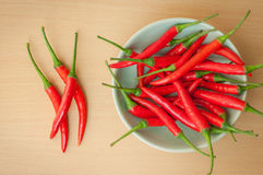 Hot chili peppers on the wooden desk. Red hot chili peppers on the wooden desk Stock Photo