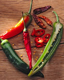 Hot chili peppers. On a wooden table royalty free stock photography
