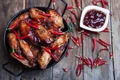 Bufalo style chicken wings Royalty Free Stock Images