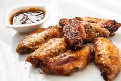 Bufalo style chicken wings. Hot chili sauce buffalo style chicken wings stock image