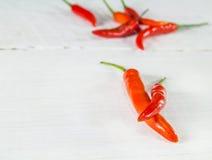 Hot Chili on wood textured background Stock Photo