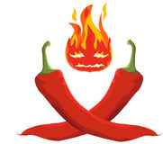 Hot Chili Pepper (Vector Illustration, eps). Vector Illustration of red hot chilis on white background Royalty Free Stock Photo