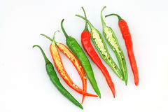 Hot chilli or chilli peppers isolated Stock Photography