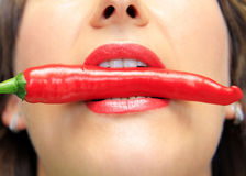 Hot chilli lips Stock Photo