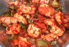 Hot chilli paneer. Hot and saucy version of chilli paneer (cottage cheese) cooked in spicy Indian style royalty free stock photos