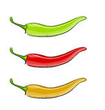 Hot chilli pepper vector set isolated on white background. Stock Images