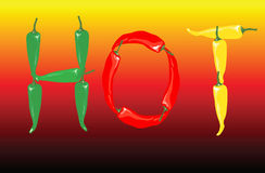 Hot chilli peppers. A  illustration of red, green and yellow chilli peppers spelling the word 'hot Stock Photos