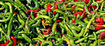Hot chilli peppers. On a market stall 1 Royalty Free Stock Image
