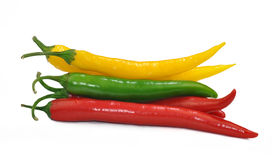 Hot chilli peppers. On white background Stock Photo