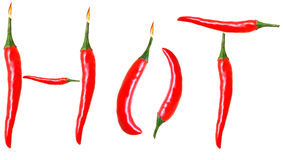 Hot chilli peppers. Spelling the word hot isolated on white Stock Image