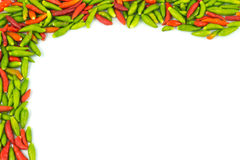 Hot chilli peppers frame and background Stock Images