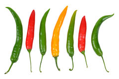Hot chilli peppers. Isolated on white background Stock Photography