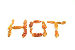 Hot chillies. The word hot spelled with dried hot chillies Stock Photos