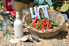 Hot chillies in basket Royalty Free Stock Image